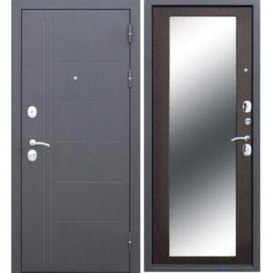 купить Входная дверь металлическая 10 см Троя Серебро MAXI зеркало Венге