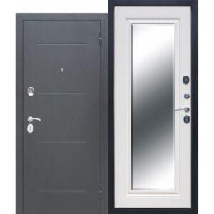 Входная дверь 7,5 см GARDA Серебро Зеркало Фацет Белый ясень