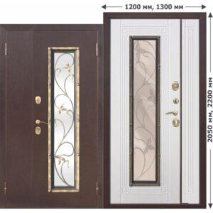 Входная Дверь металлическая со стеклопакетом, ковка Плющ 1200 Белый ясень