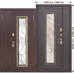 Входная Дверь металлическая со стеклопакетом, ковка Плющ 1200 Венге