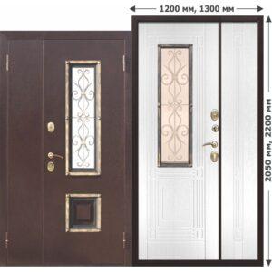Входная Дверь металлическая со стеклопакетом Венеция 1200 Белый ясень