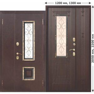Входная Дверь металлическая со стеклопакетом, ковка Венеция 1200 Венге