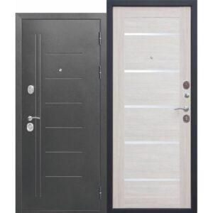 Входная дверь металлическая 10 см Троя Серебро Лиственница беж